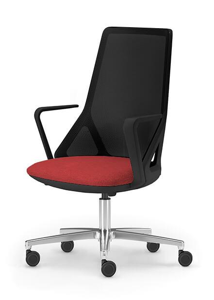 Бял офис стол с облегалка мрежа Duo